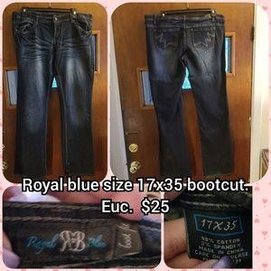 Royal blue size 17 long bootcut jeans